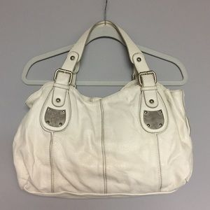 Ivory hobo-style purse with silver/tan detail